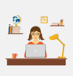 E-learning with girl at laptop at desk vector