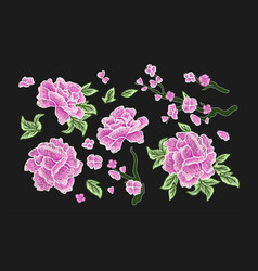 Embroidered design elements with sakura vector