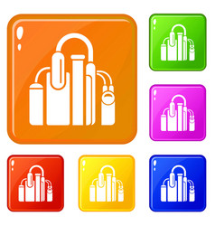 factory icons set color vector image