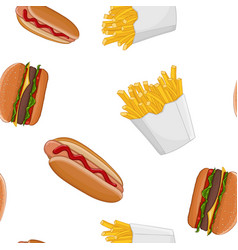 fast food set colored seamless pattern vector image