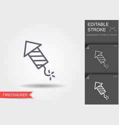 firework rocket line icon with shadow and vector image