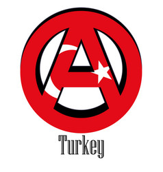 Flag of turkey of the world in the form of a sign vector