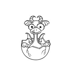 flat dragon baby hatching from egg coloring vector image