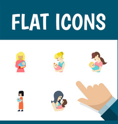 Flat icon mam set of child kid newborn baby and vector