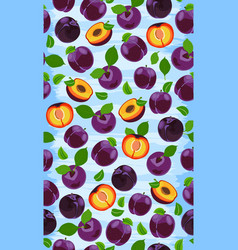 fresh purple plum seamless pattern slices pits vector image