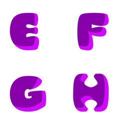 funny decorative letters e f g h purple vector image