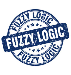 Fuzzy logic blue grunge stamp vector