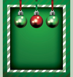 Green christmas holiday frame and ornaments vector