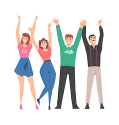 Group people characters standing together with vector
