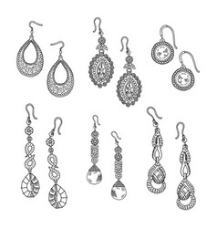 hand drawn earrings set - jewelry isolated vector image