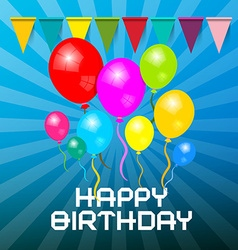 Happy Birthday Card Colorful Balloons with Flags vector