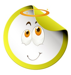 Happy face on round sticker vector image