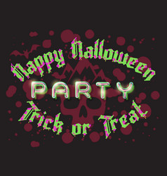 happy halloween party lettering retro poster vector image