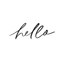 Hello ink brush lettering vector