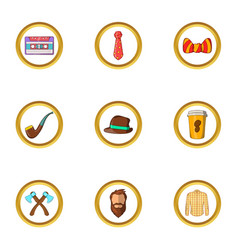 Hipster element icon set cartoon style vector