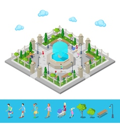 Isometric Park City Park Active People Outdoors vector