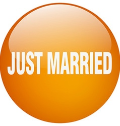 Just married orange round gel isolated push button vector