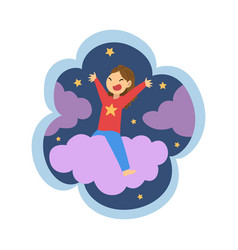 kid dreams sweet dream cloud with girl riding vector image