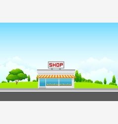 Landscape with Shop Building vector image