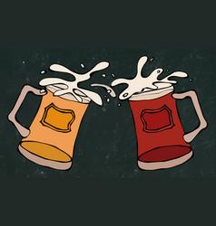 light and dark beer mugs or glasses black board vector image