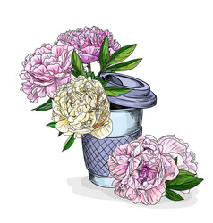 Lush peonies in a coffee cup hand drawn vector