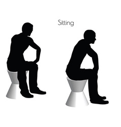 man in Sitting pose on white background vector image