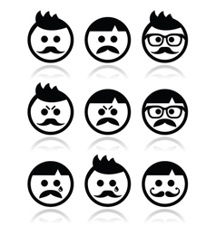 Man with moustache or mustache avatar icon vector image