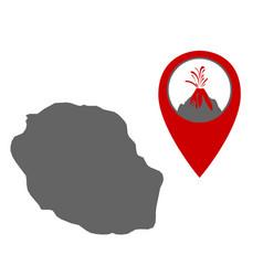 Map la reunion with volcano locator vector
