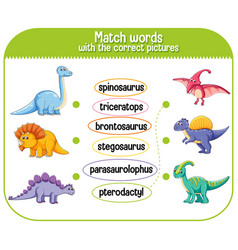 Match words with correct pictures dinosaur vector