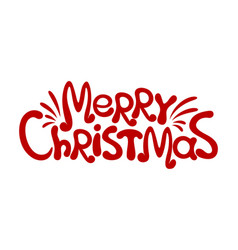 merry christmas red inscription vector image