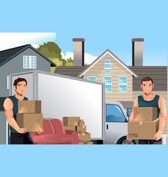 Moving men with truck and boxes vector