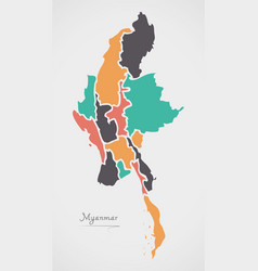 Myanmar map with states and modern round shapes vector