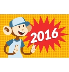 New Year text and monkey classic pop art design vector