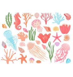 ocean elements cartoon seaweeds corals vector image