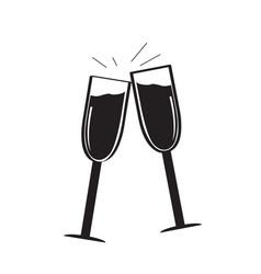 pair of wine glasses vector image