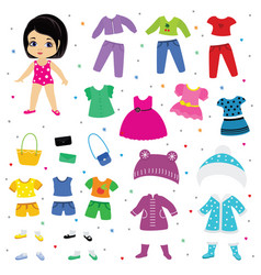 Paper doll dress up or clothing beautiful vector