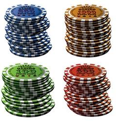 Poker chips column set isolated on white vector
