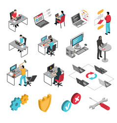 Programmers work isometric icons set vector