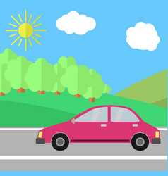 red car on a road on a sunny day vector image