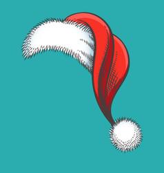 red christmas santa claus hat hand drawing sketch vector image