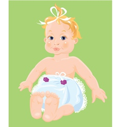 Red hair Baby Girl dressing pampers isolated o vector image