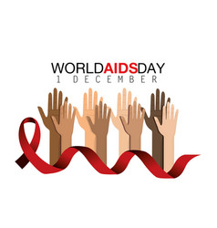 Red ribbon and hands up to prevention aids vector