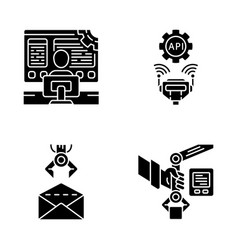 Rpa glyph icons set vector