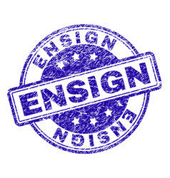 Scratched textured ensign stamp seal vector
