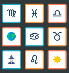set of astrology icons flat style symbols with sun vector image