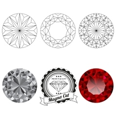 Set of magna cut jewel views vector image