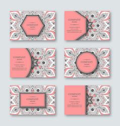 set of ornamental hand drawn mandala cards vector image