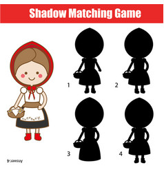 shadow matching game kids activity with red vector image