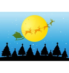Silhouette Christmas tree and Santa vector
