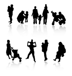 Silhouette family set vector
